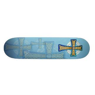 Big Blue Celtic Cross Skateboard