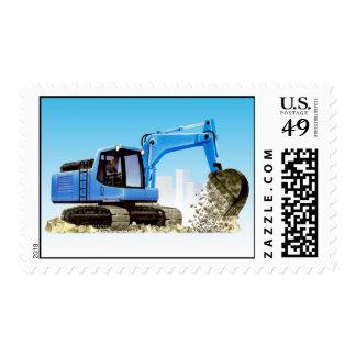 Big Blue Construction Excavator Digger Postage Stamp