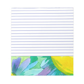 Big Blue Daisy Painted Watercolor Flowers Lined Notepad