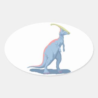 Big Blue Dinosaur Oval Sticker
