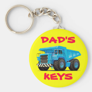 Big Blue Dump Truck Basic Round Button Keychain