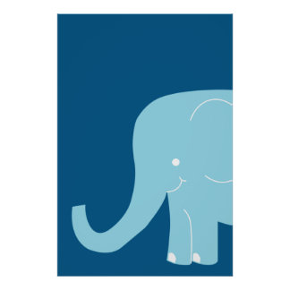 Big Blue Elephant Wall Art
