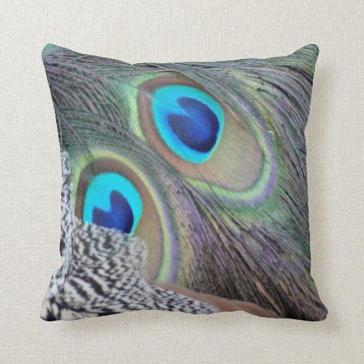Big Blue Throw Pillows : Big Blue Eyes Of A Peacock Feather Throw Pillows Zazzle