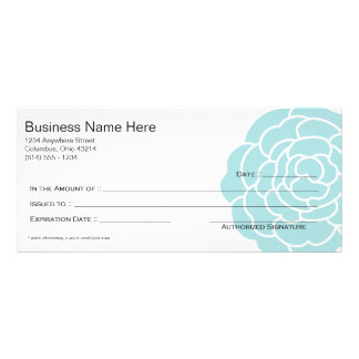 Big Blue Flower Gift Certificate Design 3