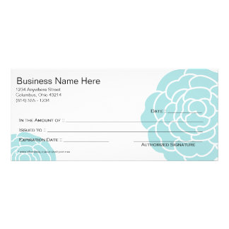 Big Blue Flower Gift Certificate Design 3