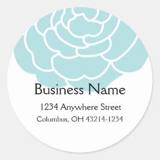 Big Blue Flower Round Address Labels Classic Round Sticker