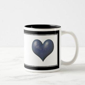 Big Blue Heart of Stone Two-Tone Coffee Mug