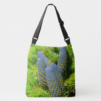Big Blue Korean Fir Cones Crossbody Bag