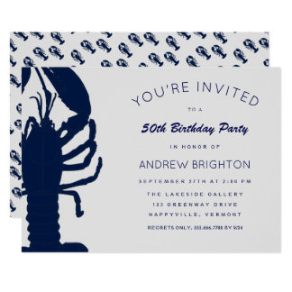 Big Blue Lobster His Birthday Party Invitation