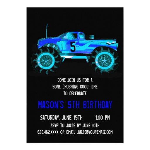 Big Blue Monster Truck Birthday Party Invitations