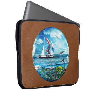 Big Blue Ocean Bubble Natures Playground Laptop Computer Sleeves