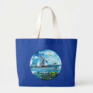 Big Blue Ocean Bubble Natures Playground Large Tote Bag