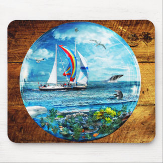 Big Blue Ocean Bubble Natures Playground Mouse Pad