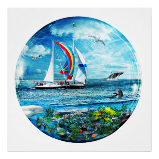 Big Blue Ocean Bubble Natures Playground Poster