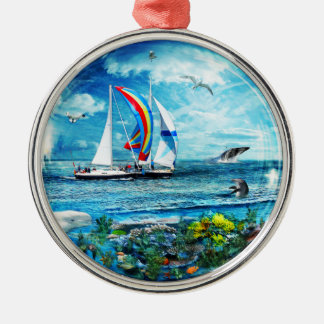 Big Blue Ocean Bubble Natures Playground Round Metal Christmas Ornament