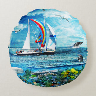 Big Blue Ocean Bubble Nature's Playground Round Pillow