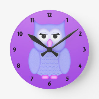 Big  Blue Owl Childrens Learning Round Clock