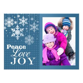 Big Blue Peace Love Joy Photo Christmas Flat Card