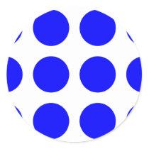 Big Blue Polka Dots Classic Round Sticker