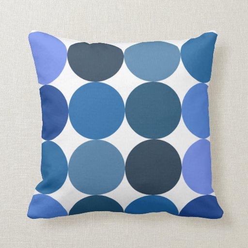 Large Blue Throw Pillows : Big Blue Polka Dots Throw Pillow Zazzle