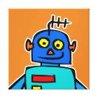 Big blue robot canvas print