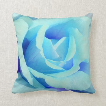 Beach Themed Big Blue Rose Pillow