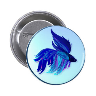 Big Blue Siamese Fighting Fish  Buttons