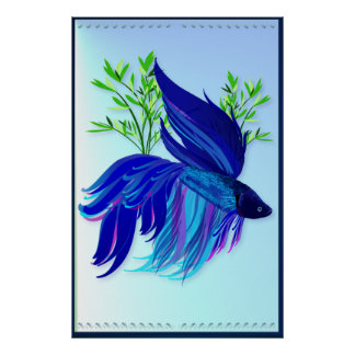 Big Blue Siamese Fighting Fish large Poster