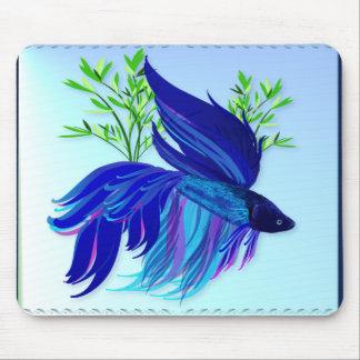Big Blue Siamese Fighting Fish Mousepad
