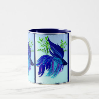 Big Blue Siamese Fighting Fish Mugs