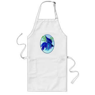 Big Blue Siamese Fighting Fish Oval Aprons