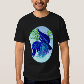 Big Blue Siamese Fighting Fish Oval Shirts