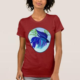 Big Blue Siamese Fighting Fish Oval Shirts