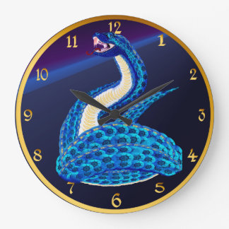 Big Blue Snake From Some Interesting Place Wall Clock