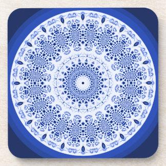 Big Blue Snowflake Kaleidoscope Coaster