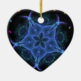 Big Blue Star - Fractal Double-Sided Heart Ceramic Christmas Ornament
