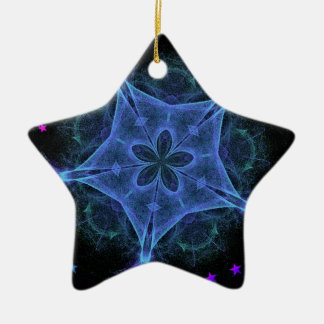 Big Blue Star - Fractal Double-Sided Star Ceramic Christmas Ornament