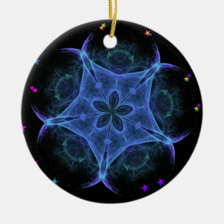 Big Blue Star - Fractal Double-Sided Ceramic Round Christmas Ornament