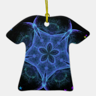 Big Blue Star - Fractal Double-Sided T-Shirt Ceramic Christmas Ornament