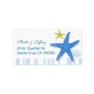 Big Blue Starfish + Stripes Wedding Address Labels