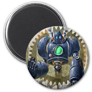 Big Blue  Steampunk  Robo Refrigerator Magnets