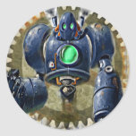 Big Blue  Steampunk  Robo Round Sticker