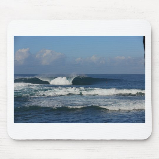 Big blue tropical reef surfing wave mouse pad