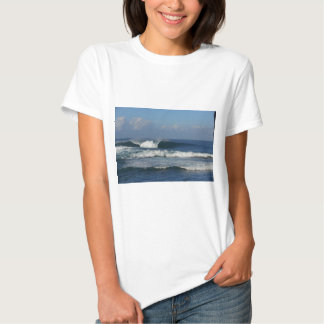 Big blue tropical reef surfing wave t shirt