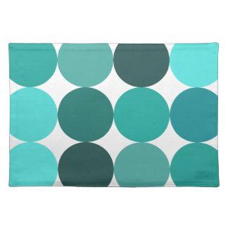 Big Bluegreen Polka Dots Cloth Placemat