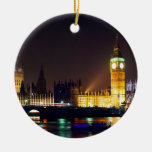 Big Bn on London River Double-Sided Ceramic Round Christmas Ornament
