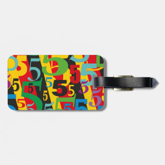Big Bold Bright Number 5 Fun Colorful Pattern Luggage Tag