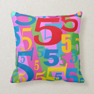 Big Bold Bright Number 5 Fun Multicolored Throw Pillow