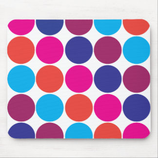 Big Bold Colorful Circles Trendy Polka Dots Mouse Pad