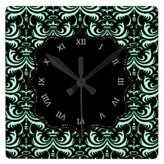 Big Bold Damask (Apple Green) Square Wall Clock